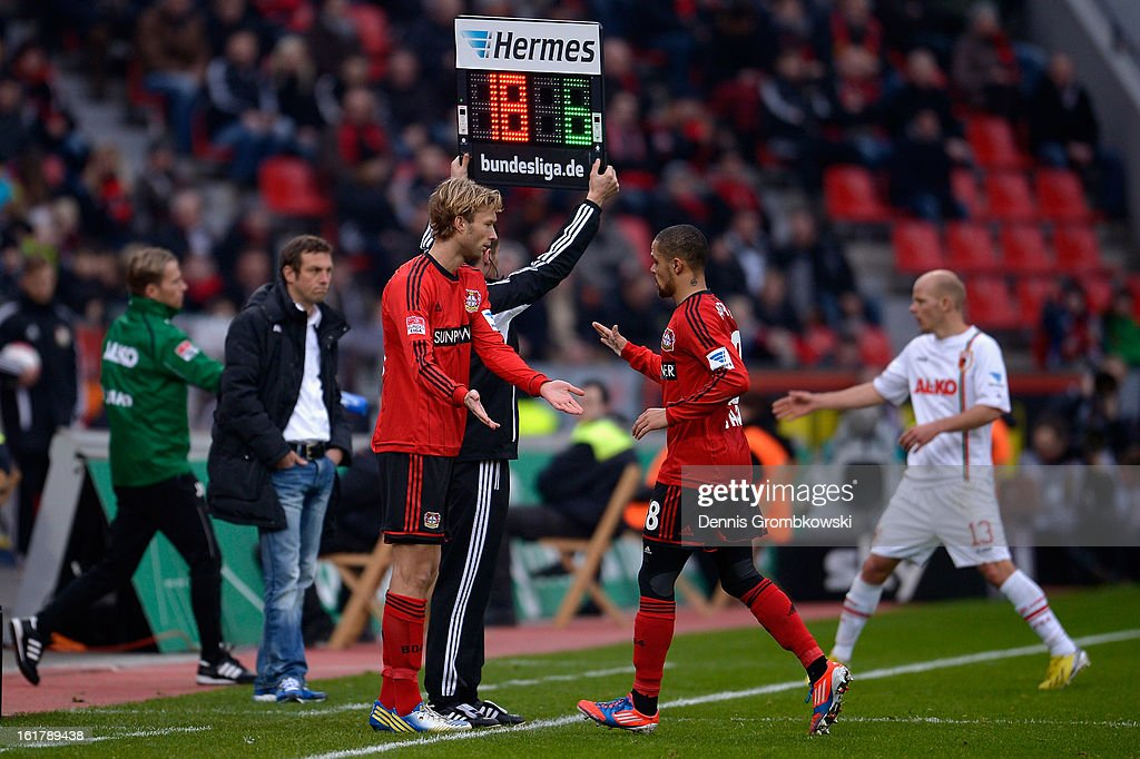 Sidney Sam of Leverkusen leaves the pitch after suffering an injury during the Bundesliga match between Bayer 04 Leverkusen and FC Augsburg at BayArena on February 16, 2013 in Leverkusen, Germany.