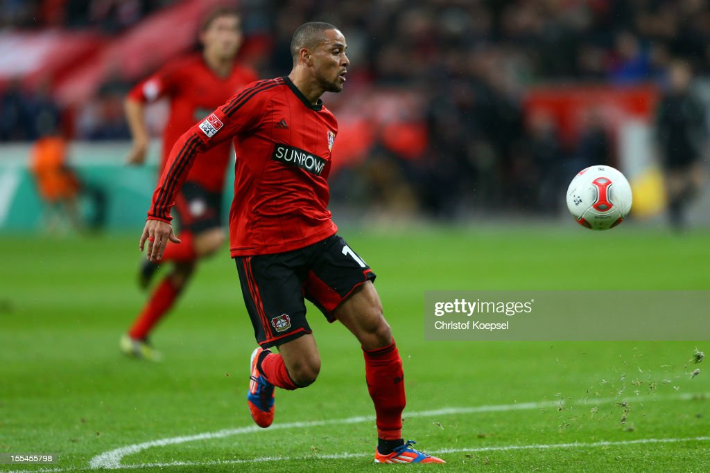 Sidney Sam of Leverkusen scores the first goal during the Bundesliga match between Bayer 04 Leverkusen and Fortuna Duesseldorf at BayArena on November 4, 2012 in Leverkusen, Germany. (Photo by Christof Koepsel/Bongarts/Getty Images) .