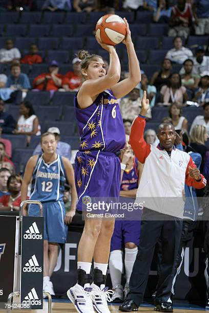 Sidney Spencer of the Los Angeles Sparks shoots during the 3 Point Shootout prior to the 2007 WNBA AllStar Game presented by Discover Card on July 15...