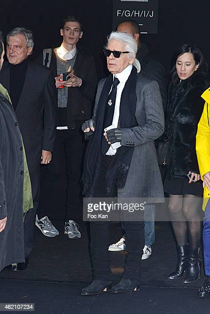 Sidney Toledano and Karl Lagerfeld attend the Dior Homme Menswear Fall/Winter 20152016 show as part of Paris Fashion Week on January 24 2015 in Paris...