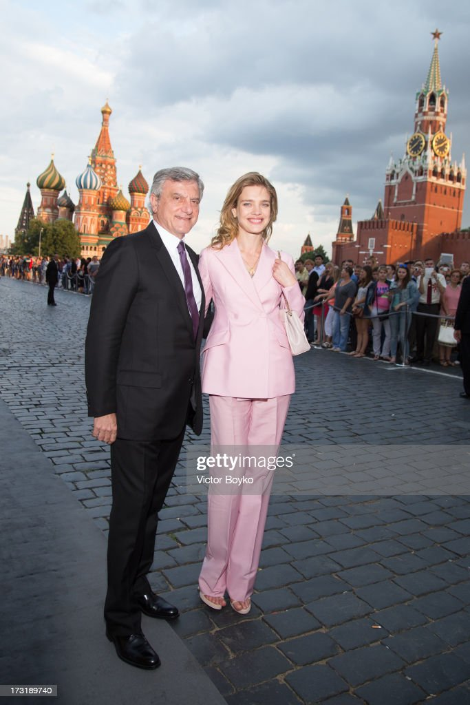 Sidney Toledano and Natalia Vodianova (R) attend the Dior A/W 2013-2014 show at Red Square on July 9, 2013 in Moscow, Russia.