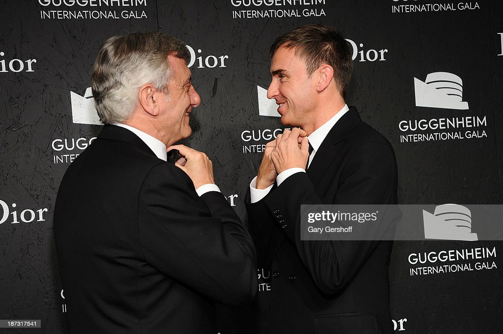Sidney Toledano (L) and Raf Simons attend the Guggenheim International Gala, made possible by Dior, at the Guggenheim Museum on November 7, 2013 in New York City.