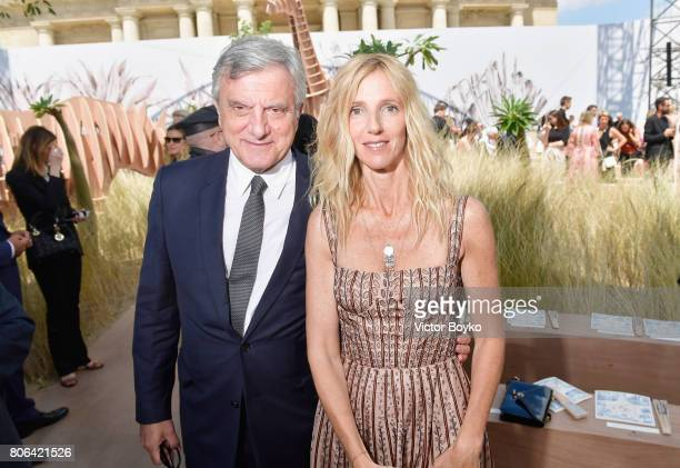 Sidney Toledano and Sandrine Kiberlain attend the Christian Dior Haute Couture Fall/Winter 20172018 show as part of Haute Couture Paris Fashion Week...