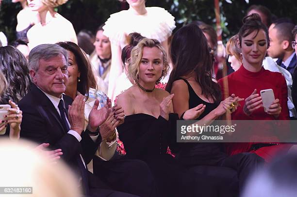 Sidney Toledano Diane Kruger Charlotte Le Bon and Louise Bourgoin attend the Christian Dior Haute Couture Spring Summer 2017 show as part of Paris...