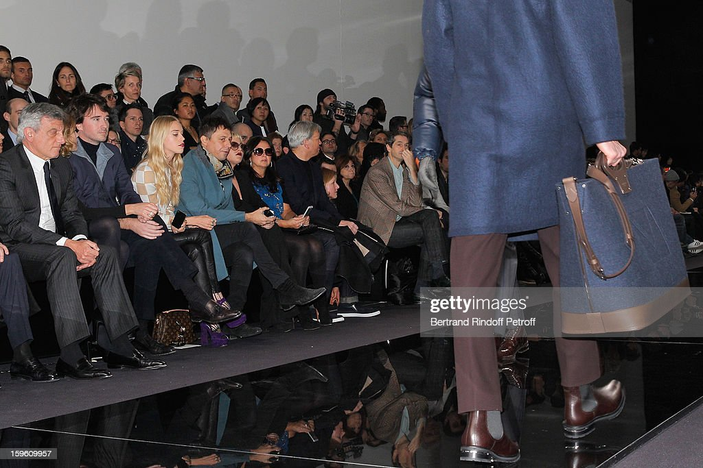 Sidney Toledano, Natalia Vodianova, Antoine Arnault, Lady Mary Charteris, Jamie Hince and Jaime Winstone attend the Louis Vuitton Men Autumn / Winter 2013 show as part of Paris Fashion Week on January 17, 2013 in Paris, France.