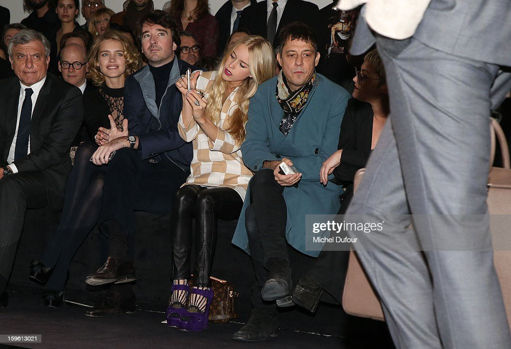 Sidney Toledano, Natalia Vodianova, Antoine Arnault, Mary Charteris and Jamie Hince attend the Louis Vuitton Men Autumn / Winter 2013 show as part of Paris Fashion Week on January 17, 2013 in Paris, France.
