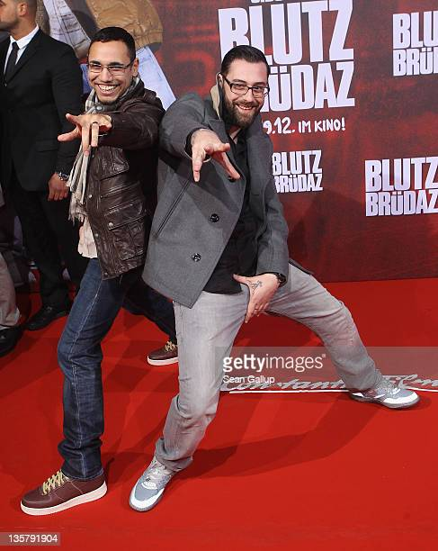 Sido and BTight attend the 'Blutzbruedaz' premiere at CineStar Sony Center on December 14 2011 in Berlin Germany