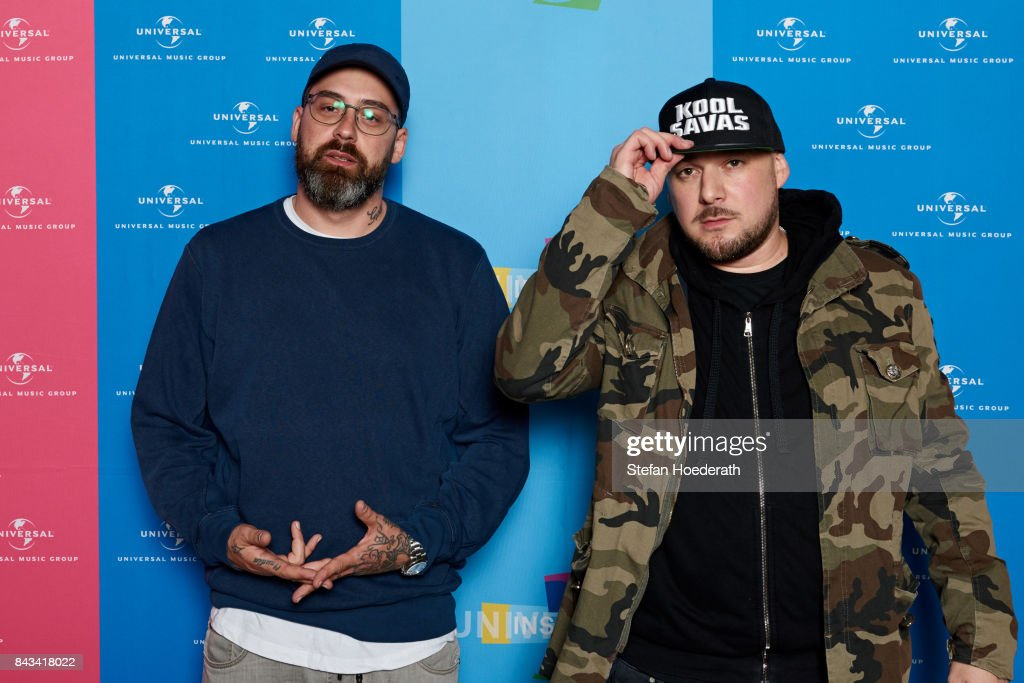 Sido and Kool Savas pose for a photo during Universal Inside 2017 organized by Universal Music Group at Mercedes-Benz Arena on September 6, 2017 in Berlin, Germany.