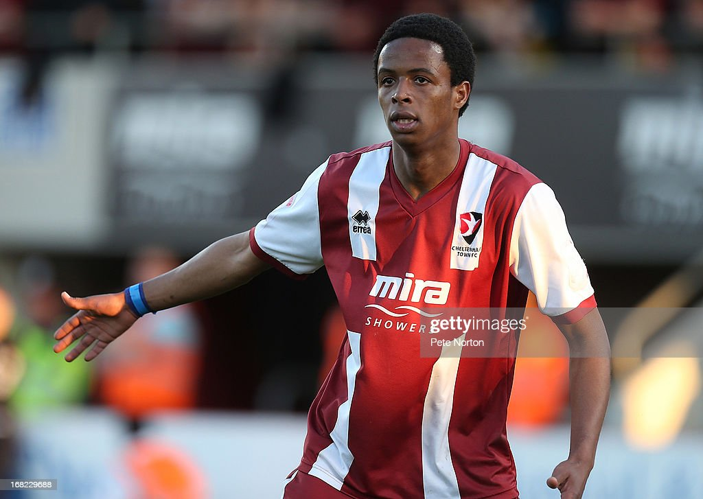 Sido Jombati of Cheltenham Town in action during the npower League Two Play Off Semi Final Second Leg between Cheltenham Town and Northampton Town at Abbey Business Stadium on May 5, 2013 in Cheltenham, England.