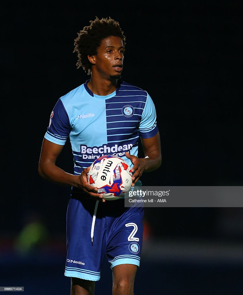 Sido Jombati of Wycombe Wanderers during the EFL Cup match between Wycombe Wanderers and Bristol City at Adams Park on August 8 2016 in High Wycombe...