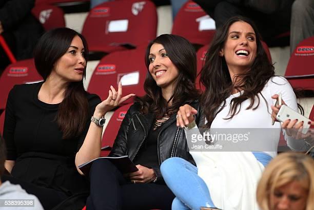 Sidonie Biemont girlfriend of Adil Rami of France Jennifer Giroud wife of Olivier Giroud Ludivine Sagna wife of Bacary Sagna attend the international...
