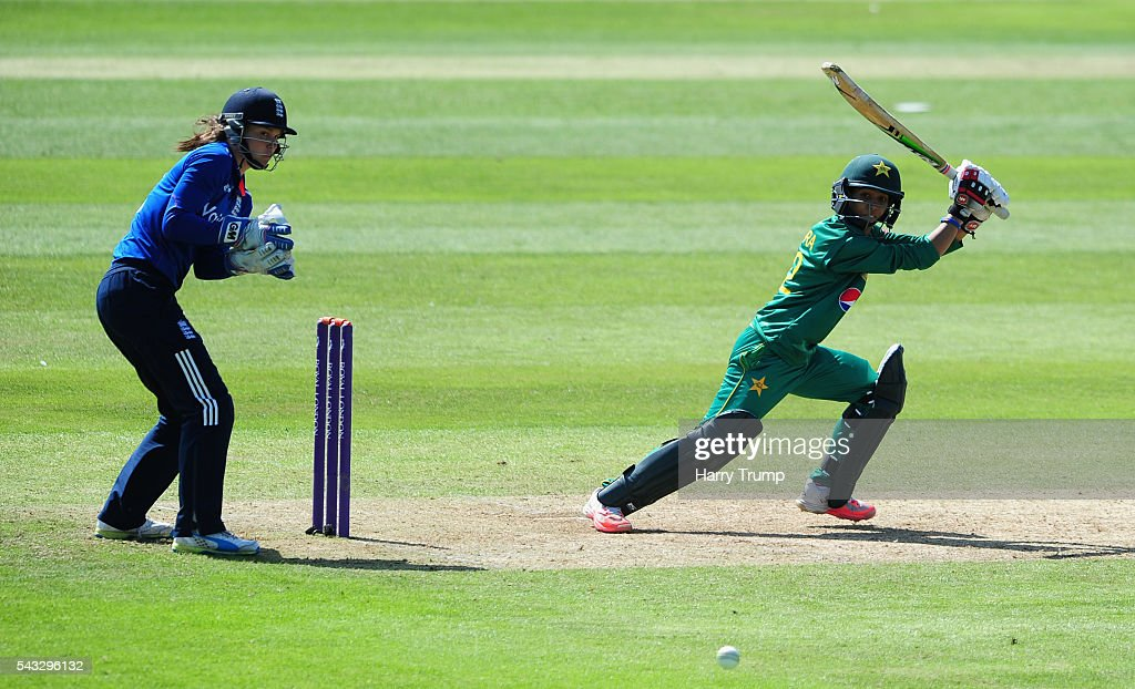 Sidra Nawaz of Pakistan cuts the ball during the 3rd Royal Royal London ODI between England Women and Pakistan Women at The Cooper Associates County Ground on June 27, 2016 in Somerset, United Kingdom.