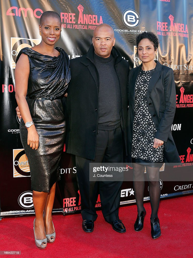 Sidra Smith, Jeff Clanagan and director Shola Lynch attend the 'Free Angela and All Political Prisoners' New York Premiere at The Schomburg Center for Research in Black Culture on April 3, 2013 in New York City.