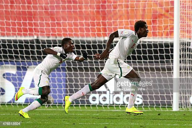 Sidy Sarr of Senegal celebrates after scoring the equalizing goal during the FIFA U20 World Cup round of 16 match between Ukraine and Senegal at the...