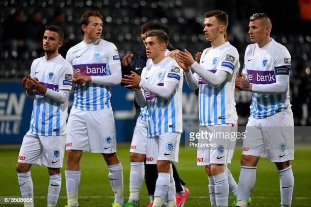 Siebe Schrijvers forward of KRC Genk Sander Boli Berge midfielder of KRC Genk Leandro Trossard forward of KRC Genk during the Jupiler Pro League play...