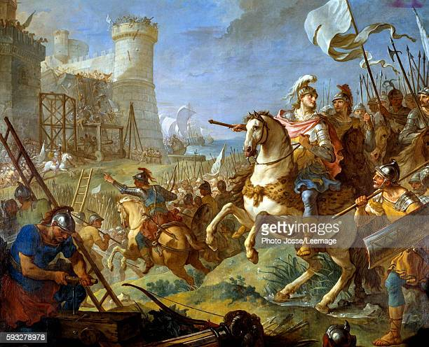 Siege of Arles by Theodoric II king of the Wisigoths Painting by CharlesJoseph Natoire 18th century BeauxArts Museum Troyes France