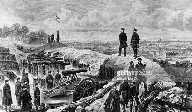 Siege of Paris Emperor Wilhelm I on the rampart of an prussian artillery position the day after the surrender of the town 29011871 contemp wood...