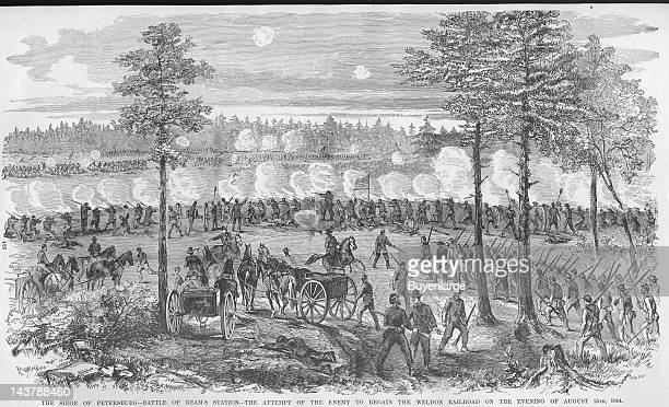 Siege of Petersburg Battle of Beam's Station in attempt to regain the Weldon Railroad Petersburg Virginia August 24 1864 From an issue of Frank...