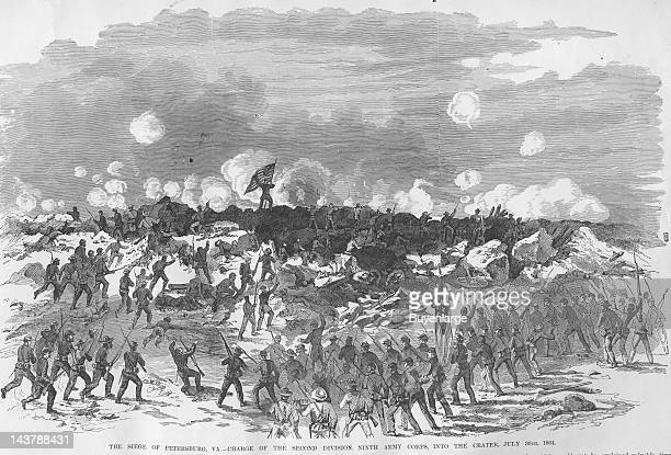 Siege of Petersburg into the Crater Petersburg Virginia July 30 1864 From an issue of Frank Leslie's Illustrated Almanac