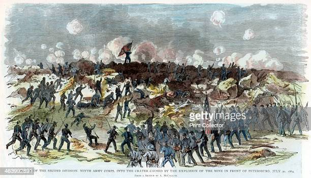 Siege of Petersburg Virginia American Civil War 30 July 1864 Charge of the Union 2nd Division 9th Army Corps In the background is a huge crater...
