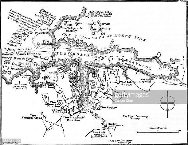 Siege of Sevastopol map of British defence Siege during Crimean War lasting from September 1854 until September 1855