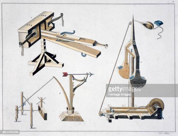 Siege weapons 1842 Ballistae and a trebuchet Plate from A History of the Development and Customs of Chivalry by Dr Franz Kottenkamp Artist Friedrich...