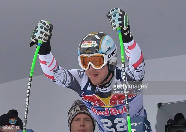 Sieger Hannes Reichelt steht im Starthaus beim 74 Hahnenkamm FIS Abfahrts Weltcup auf der Streif am 25 Januar 2014 in Kitzbuehel