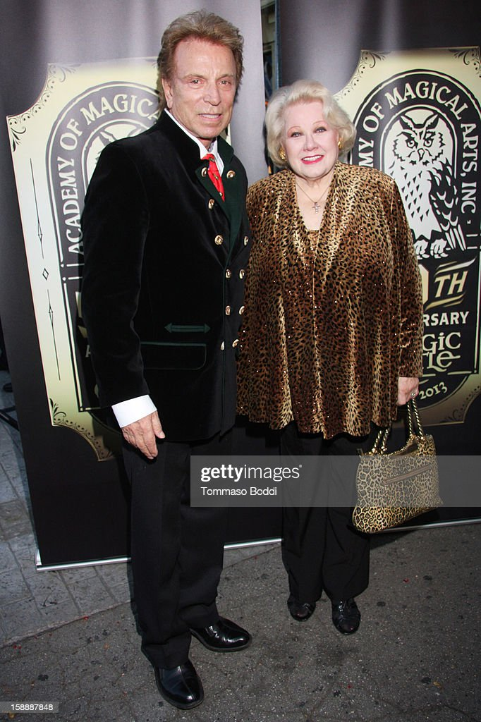Siegfried Fischbacher (L) and Irene Larsen attend the Academy of Magical Arts & The Magic Castle 50th anniversary gala held at The Magic Castle on January 2, 2013 in Hollywood, California.