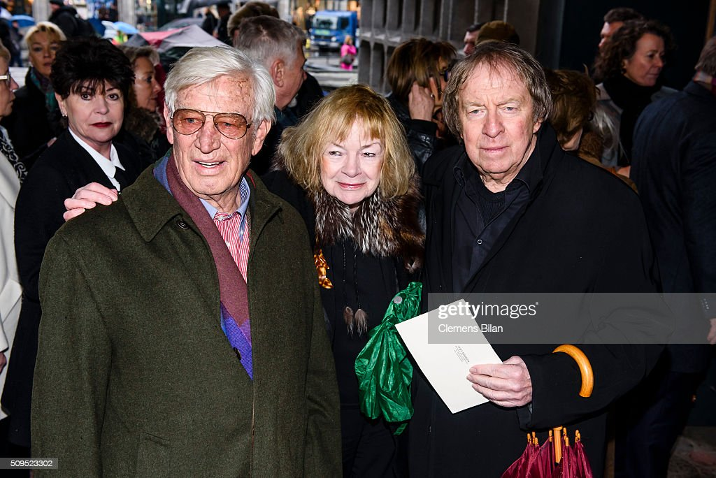 Siegfried Rauch, Ann-Monika Pleitgen and Ulrich Pleitgen attend the Wolfgang Rademann memorial service on February 11, 2016 in Berlin, Germany.