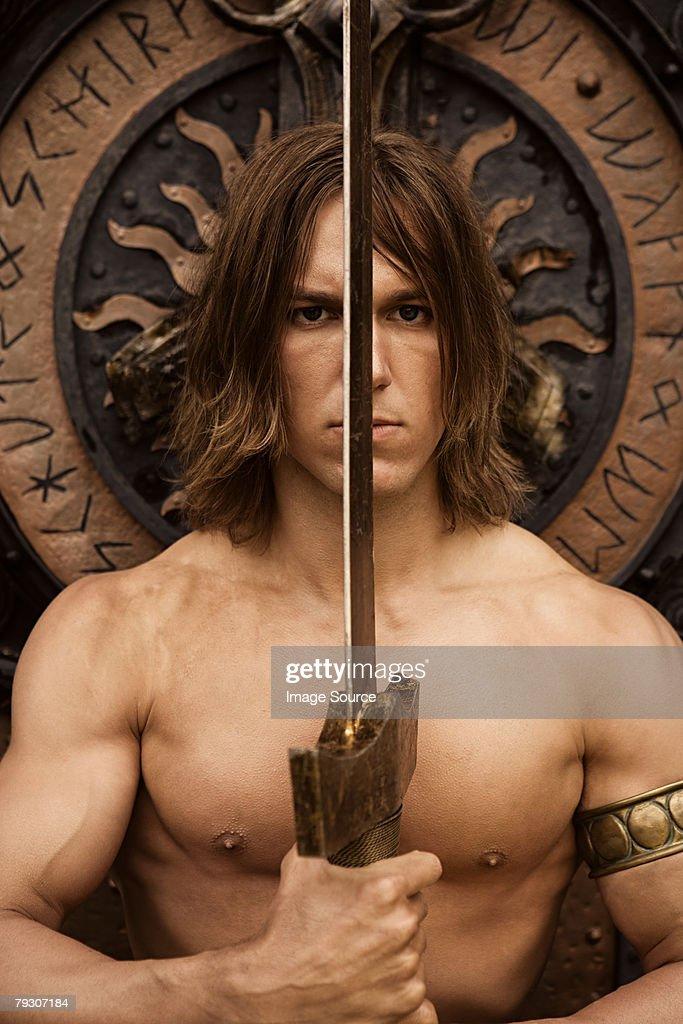 Siegfried with sword : Stock Photo