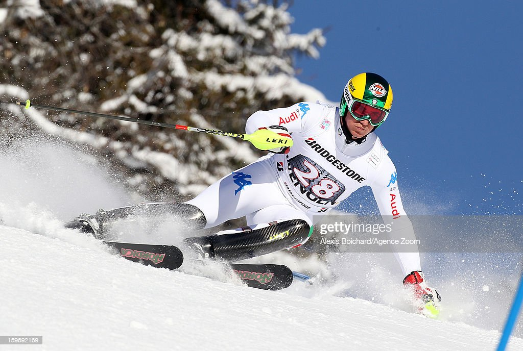 Siegmar Klotz of Italy competes during the Audi FIS Alpine Ski World Cup Men's Super Combined on January 18, 2013 in Wengen, Switzerland.