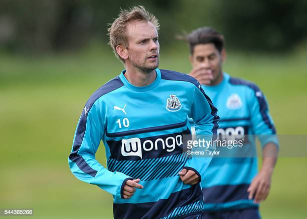 Siem de Jong during a Newcastle United training session at The Newcastle United Training Centre on July 3 2016 in Newcastle upon Tyne England