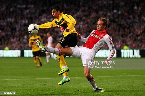 Siem de Jong of Ajax and Jeffrey Leiwakabessy of Venlo battle for the ball during the Eredivisie match between Ajax Amsterdam and VVV Venlo at...