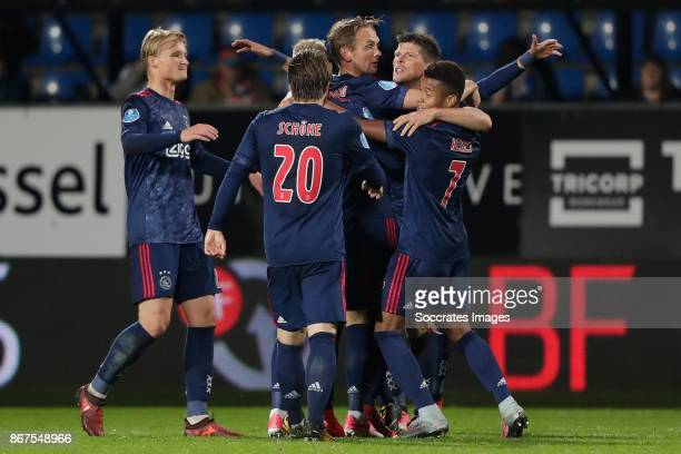 Siem de Jong of Ajax celebrate the 13 with Kasper Dolberg of Ajax Lasse Schone of Ajax Klaas Jan Huntelaar of Ajax David Neres of Ajax during the...