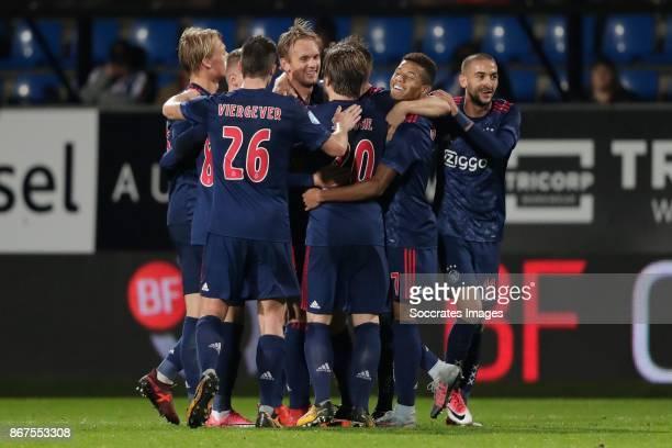 Siem de Jong of Ajax celebrates the 12 with Kasper Dolberg of Ajax Nick Viergever of Ajax Lasse Schone of Ajax David Neres of Ajax Hakim Ziyech of...