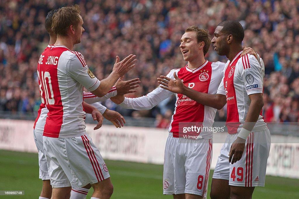 Siem de Jong of Ajax, Christian Eriksen of Ajax, Ryan Babel of Ajax during the Dutch Eredivisie match between Ajax Amsterdam and Heracles Almelo at the Amsterdam Arena on April 7, 2013 in Amsterdam, The Netherlands.
