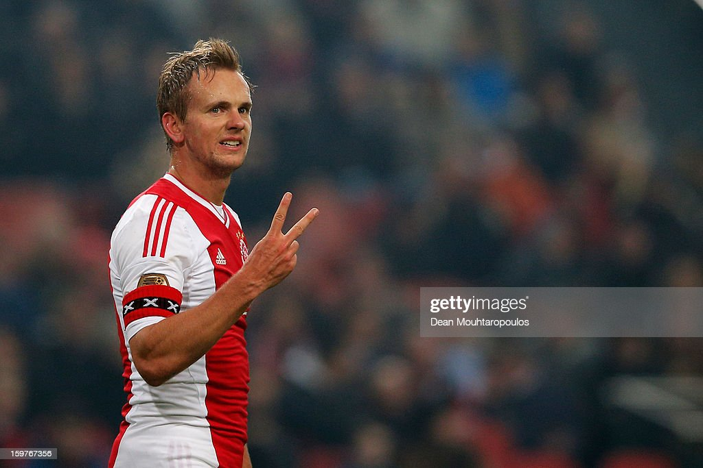 <a gi-track='captionPersonalityLinkClicked' href=/galleries/search?phrase=Siem+De+Jong&family=editorial&specificpeople=5485391 ng-click='$event.stopPropagation()'>Siem De Jong</a> of Ajax communicates with a team mate during the Eredivisie match between Ajax Amsterdam and Feyenoord Rotterdam at Amsterdam Arena on January 20, 2013 in Amsterdam, Netherlands.