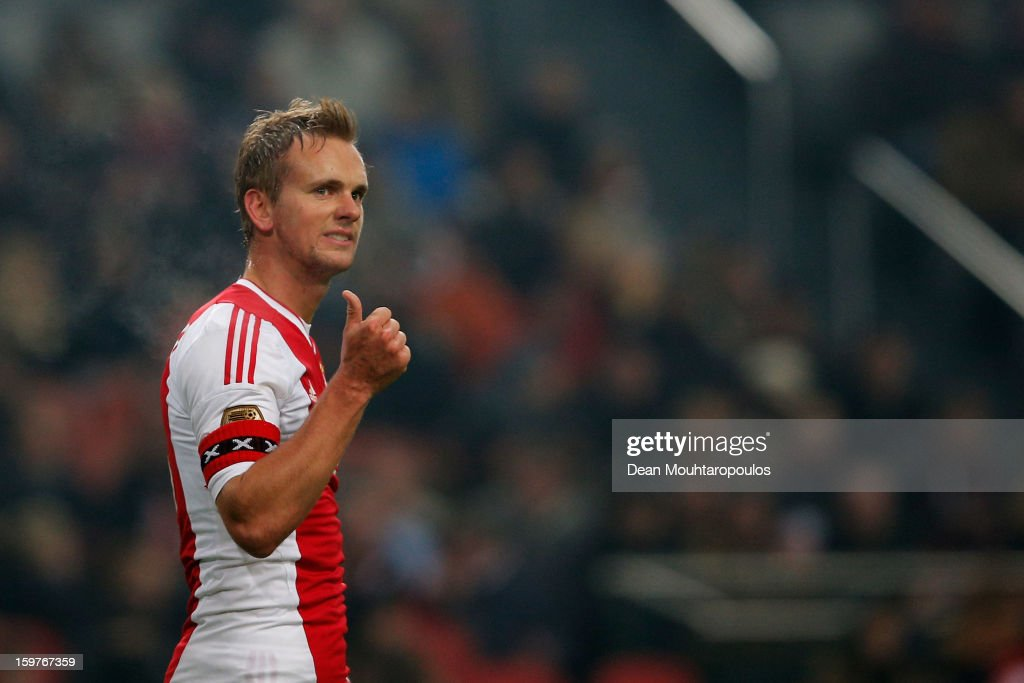 Siem De Jong of Ajax communicates with a team mate during the Eredivisie match between Ajax Amsterdam and Feyenoord Rotterdam at Amsterdam Arena on January 20, 2013 in Amsterdam, Netherlands.