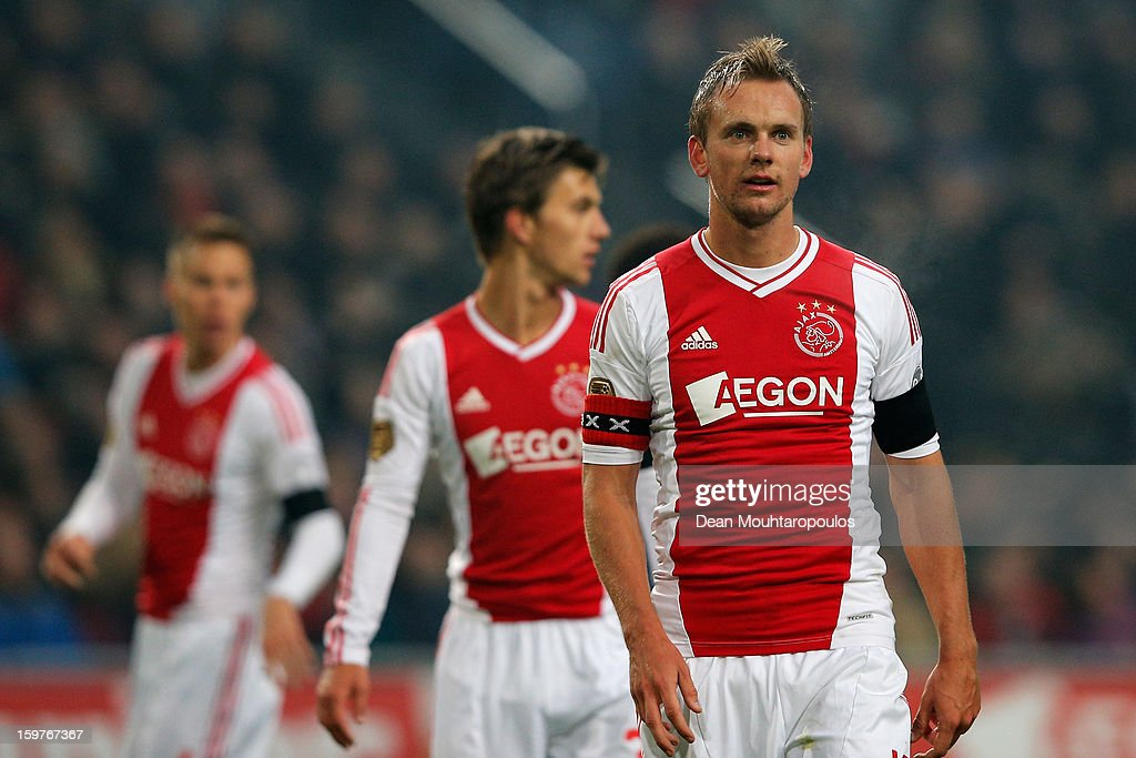 Siem De Jong (R) of Ajax gets ready for a corner during the Eredivisie match between Ajax Amsterdam and Feyenoord Rotterdam at Amsterdam Arena on January 20, 2013 in Amsterdam, Netherlands.