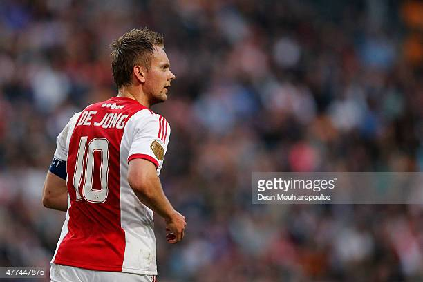 Siem De Jong of Ajax in action during the Eredivisie match between Ajax Amsterdam and SC Cambuur Leeuwarden at Amsterdam Arena on March 9 2014 in...
