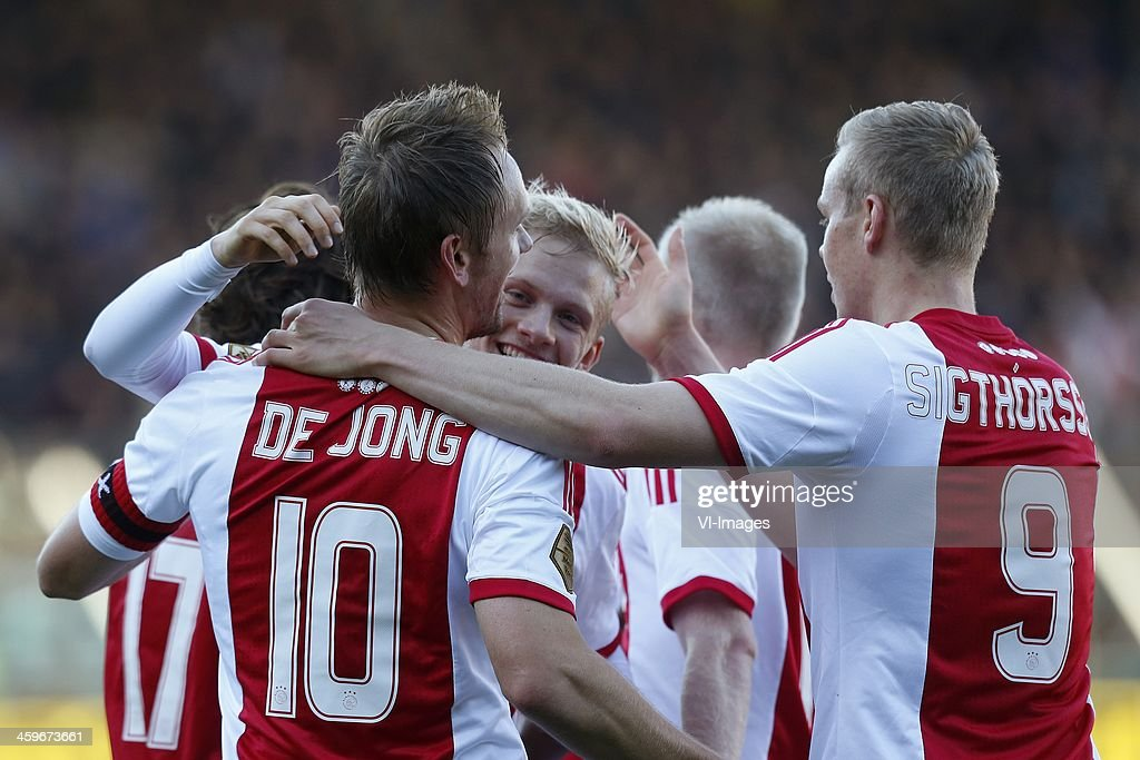 Siem de Jong of Ajax Kolbeinn Sigthorsson of Ajax during the Dutch Eredivisie match between NEC Nijmegen and Ajax on November 11 2013 at the Goffert...