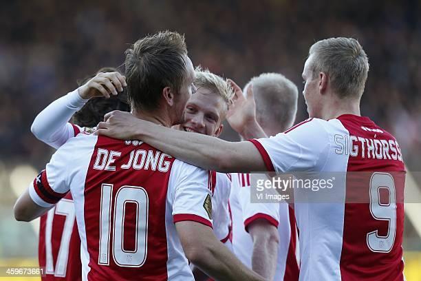 Siem de Jong of Ajax Kolbeinn Sigthorsson of Ajax during the Dutch Eredivisie match between NEC Nijmegen and Ajax on November 11 2013 at the Goffert...