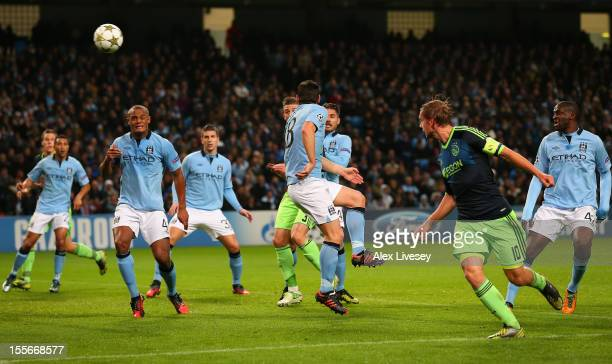 Siem de Jong of Ajax scores his team's second goal during the UEFA Champions League Group D match between Manchester City FC and Ajax Amsterdam at...