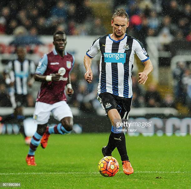 Siem de Jong of Newcastle runs with the ball during the Barclays Premier League match between Newcastle United and Aston Villa at StJames' Park on...