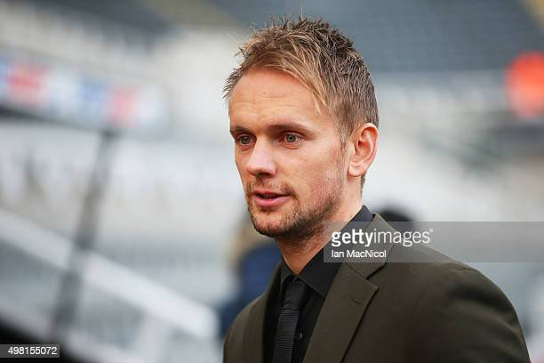 Siem de Jong of Newcastle United is seen on arrival at the stadium prior to the Barclays Premier League match between Newcastle United and Leicester...