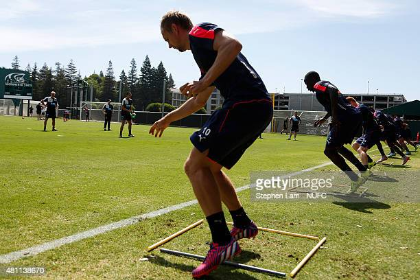 Siem de Jong of Newcastle United works on a drill during a team training session at California State University Sacramento of on July 17 2015 in...