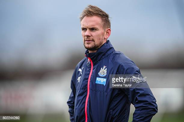 Siem de Jong stands on the pitch during the Newcastle United Training session at The Newcastle United Training Centre on December 22 in Newcastle...