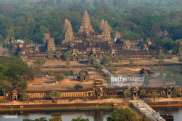 An aerial view of the Angkor Wat temple in Siem Reap province some 314 kilometers northwest of Phnom Penh 02 March 2007 Angkor is at the very heart...