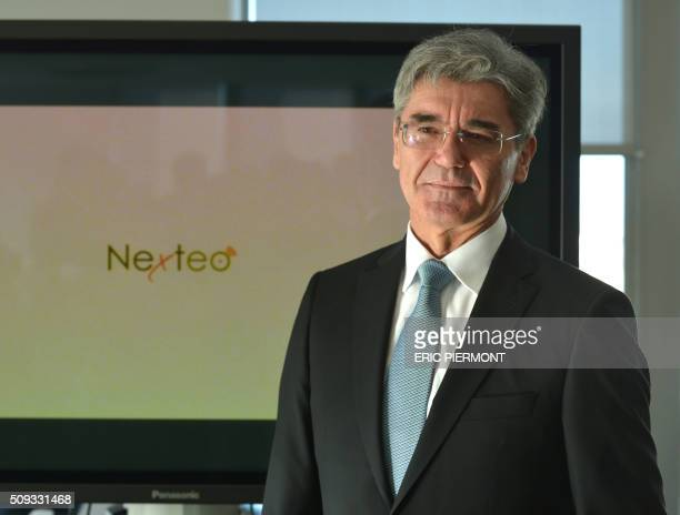 Siemens AG CEO Joe Kaeser attends the signing of the NExTeo contract at the SNCF headquarters in La PlaineSaintDenis on February 10 2016 / AFP / ERIC...