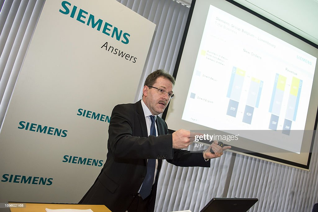 Siemens Belgium-Luxembourg Chief Financial Officer Peter Geilen talks during a press conference of electronics group Siemens Belgium-Luxemburg, on January 17, 2013 in Brussels, to announce the results for the fiscal year 2011-2012, from October 2011 to September 2011. AFP PHOTO / BELGA / LAURIE DIEFFEMBACQ